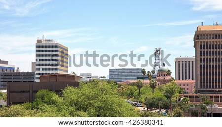 Tucson, Arizona skyline from downtown parking garage rooftop - stock photo