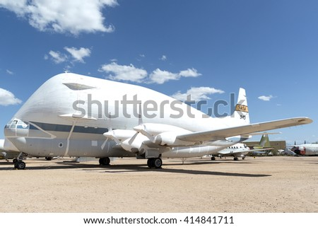 Tucson, Arizona, USA - April 25, 2016: Aero Spacelines SUPER GUPPY in the Pima Air & Space Museum. It is converted Boeing 377 Stratocruisers re-engineered for transporting space exploration vehicles.