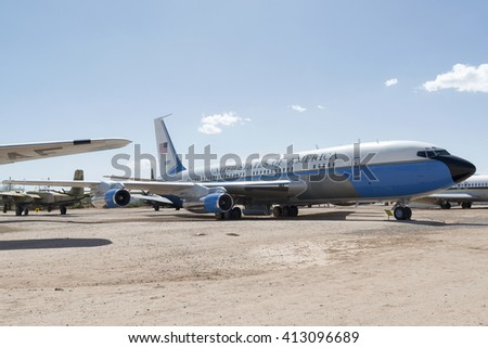 "Tucson, Arizona, USA - April 25, 2016: Boeing VC-137B VIP Transport ""Freedom One"" in the Pima Air & Space Museum."