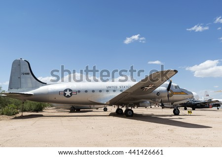 Tucson, Arizona, USA - April 25, 2016: Douglas C-54 Skymaster USAAF airplane in the Pima Air & Space Museum. It was a 4-engined transport aircraft used by the US Army Air Forces in WWII and Korean War