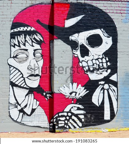 TUCSON AZ USA APRIL 24:Tucson O on wall on april 24 2014 in Tucson Arizona. Downtown Tucson is the place to experience the culture of the city. You can see the opera or ballet, street and public art - stock photo