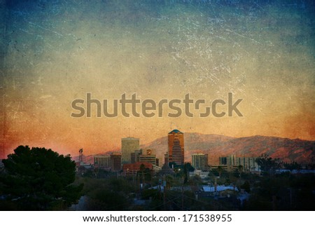 Tucson cityscape at sunset with a texture overlay - stock photo