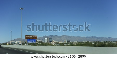 Tucson Downtown as seen from Interstate-10, Arizona; Panorama - stock photo