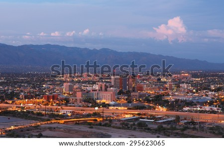 Tucson Skyline Showing the Downtown of Tucson after Sunset from Sentinel Peak Park, Tucson Arizona, USA - stock photo