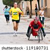 TUDELA, SPAIN - NOVEMBER 18: unidentified runners participating in the 14 th race for the integration,  On november 18, 2012 in Tudela, Navarre,  Spain - stock photo