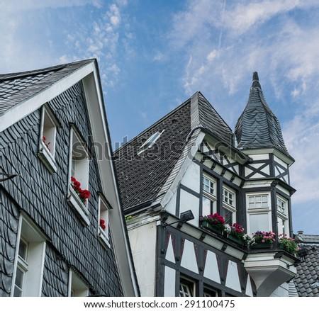Tudor style house in Germany - stock photo