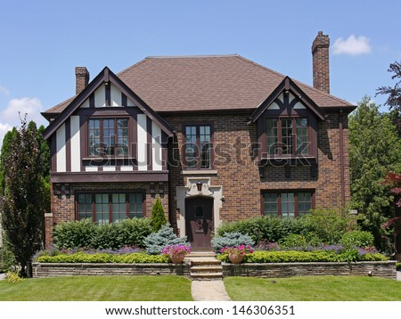 Tudor Style House With Two Gables