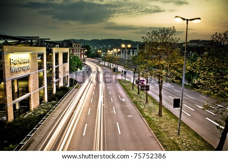 Tuebingen city in south Germany at night - stock photo
