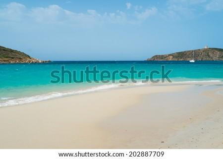 Tuerredda beach along the coast of Teulada, South Sardinia, Italy - stock photo