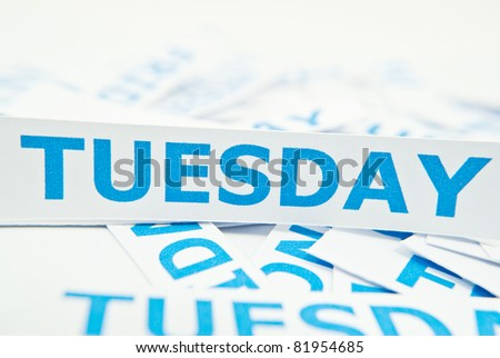 Tuesday word texture background. - stock photo