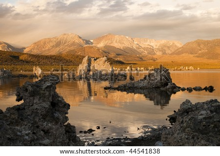 tufa formations on Mono Lake in the Owens Valley of California - stock photo
