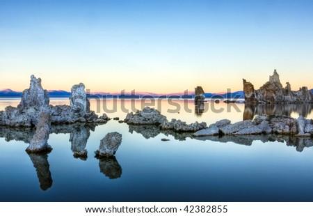 Tufa Reflections at Sunset 1 - stock photo