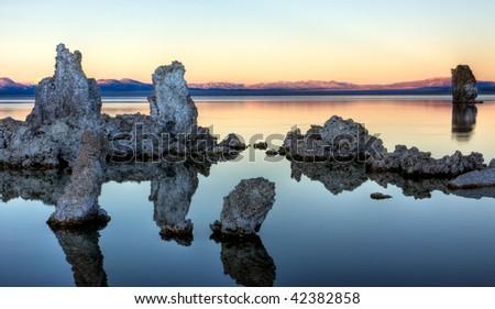 Tufa Reflections at Sunset 2 - stock photo