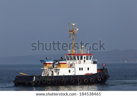 Tug boat in Kiel, Germany - stock photo