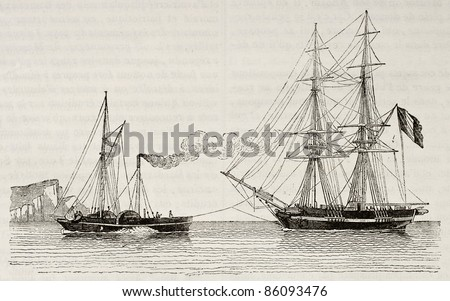 Tug boat towing a merchant brig, old illustration. By unidentified author, published on Magasin Pittoresque, Paris, 1842 - stock photo