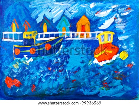 Tug boats at sea acrylic painting - stock photo