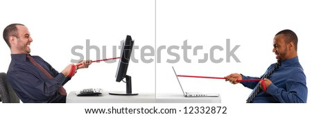 tug of war at the office on white - stock photo