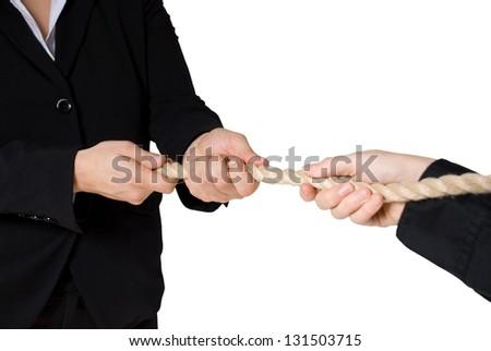 tug of war between business people, isolated - stock photo