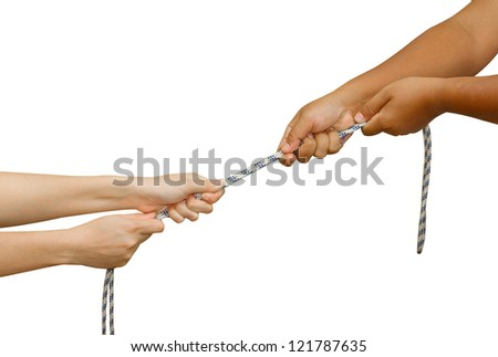 Tug of War,Two hands pulling a rope,meaning Business competition - man and woman struggling to win - stock photo