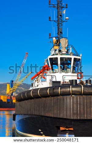 Tugboat and Containers Ship. Tugboat and containers ship docked in the harbor of La Spezia, Liguria, Italy