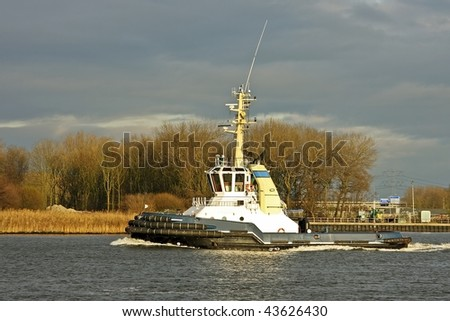 Tugboat on the Noordzee canal in the Netherlands