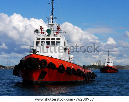 Tugboats At Anchor - stock photo