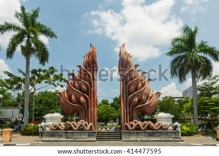 Tugu Pahlawan - National Monument in Surabaya, Heroes Day, East Java, Indonesia - stock photo