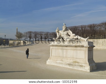 Tuillery Garden, statues of mithological heroes,Paris,January 2008 - stock photo
