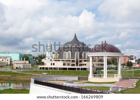 Tula cityscape with river and modern museum building  - stock photo