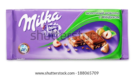 TULA, RUSSIA - APRIL 14, 2014: Bar of milk chocolate Milka with hazelnut made by Mondelez International isolated on white with clipping path