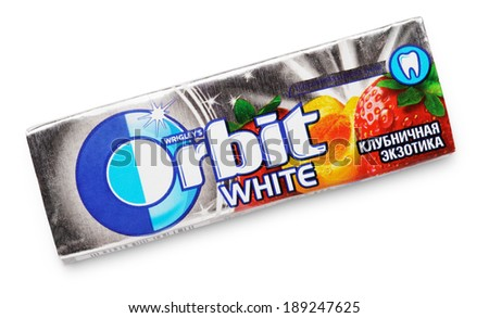 TULA, RUSSIA - APRIL 20, 2014: Chewing gum Orbit white made by Wrigley isolated on white with clipping path