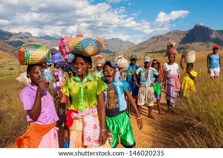 TULEAR, MADAGASCAR - FEB 05:Unidentified Malagasy men at the market Tulear in the south of Madagascar on February 05, 2009.  - stock photo