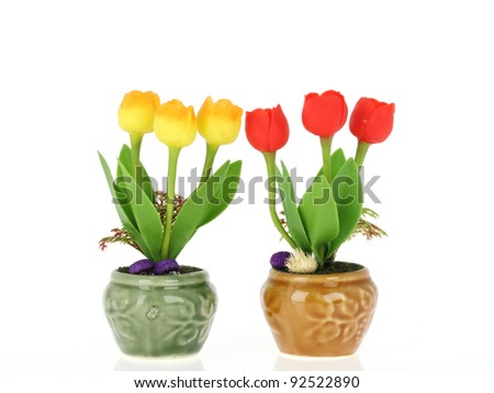 tulip be the bouquet in the vase on white background