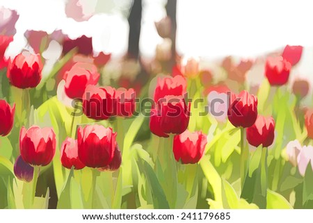 Tulip flowers in the garden, the sun shines, using filters. - stock photo