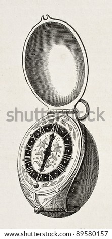 Tulip shaped old clock (Charles IX age) from Prince Saltycov collection. Engraved by Jourdan, published on L'Illustration, Journal Universel, Paris, 1858 - stock photo