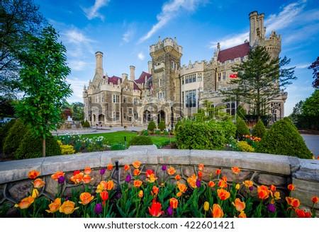 Tulips and Casa Loma in Midtown Toronto, Ontario. - stock photo