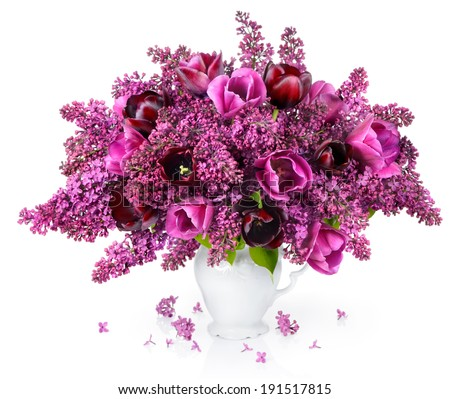 Tulips and Lilac bouquet - stock photo