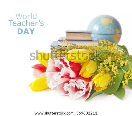 Tulips and mimosa flowers bunch with book pile and globe isolated on white background. Teacher's day concept - stock photo