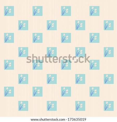 Tulips and squares pattern - stock photo