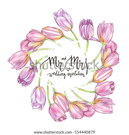 Tulips background in watercolor style, greeting card for 8 March holiday. Hand drawn sketch wedding design.