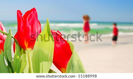 Tulips in foreground with young boy and girl playing happily at beach - stock photo