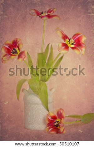 tulips in old pot with texture effect