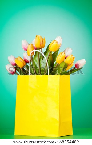 Tulips in the bag against gradient background - stock photo