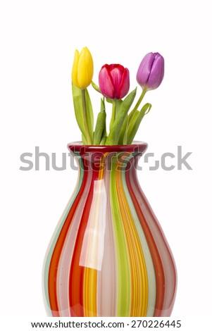 Tulips In Vase - stock photo