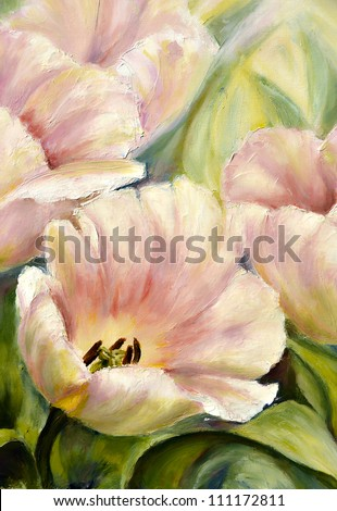 Tulips, oil painting on canvas - stock photo
