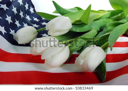 tulips on flag