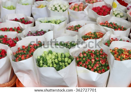 Tulips on sale in the market. Brazilian Valentine's Day  - stock photo