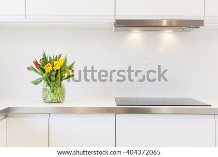 tulips on the sink - stock photo