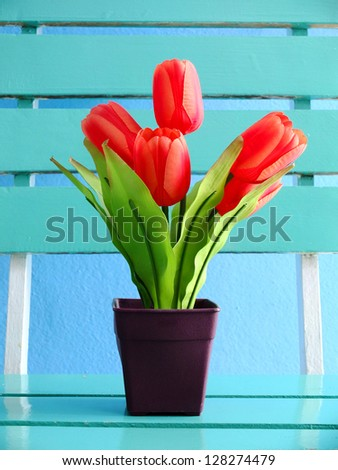 Tulips on the table,Decoration in room. - stock photo