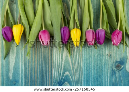 tulips over  wooden table - stock photo